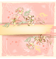 Sketch grunge flowers on watercolor background vector image
