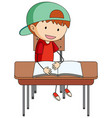 a boy doing homework doodle cartoon character vector image vector image