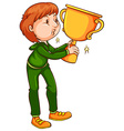 A coloured sketch of a winner with a trophy vector image vector image