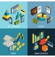 atm isometric icon set vector image vector image