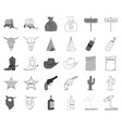 attributes of the wild west monochromeoutline vector image vector image
