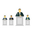 businessman or politician making speech behind the vector image vector image