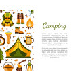 camping banner template with space for text vector image vector image