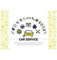 car service line icons composition vector image vector image