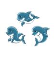 Cartoon little blue dolphins vector image