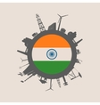 Circle with industrial silhouettes India flag vector image vector image