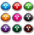 crossed blacksmith hammer set 9 collection vector image