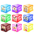 Cube with facial expressions vector image