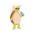 cute and funny turtle drinking cocktail cool vector image