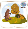 cute bear on a background of a landscape with vector image vector image