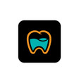dental icon on black square background vector image vector image