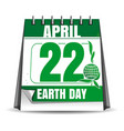 earth day calendar earth day date 22 april vector image vector image