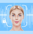 face recognition biometric scanning of girl vector image