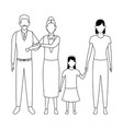 family avatar cartoon character black and white vector image vector image