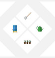 flat icon farm set of container hay fork bailer vector image vector image