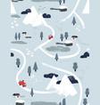 flat winter snowy landscape seamless pattern vector image