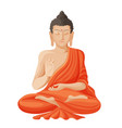 gautama buddha with raised right hand on vector image vector image
