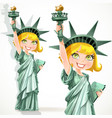 girl dressed as statue liberty with torch vector image