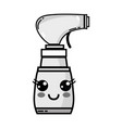 grayscale kawaii cute happy spray bottle vector image