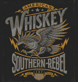 hand drawn eagle whiskey label vector image