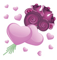 Heart and roses2 vector image vector image