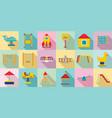 kid playground icon set flat style vector image