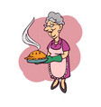 mother carries a cake cartoon vector image vector image