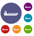 oil tanker ship icons set vector image vector image