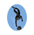 pearl diver diving with oyster vector image vector image