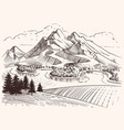 pencil drawing mountain landscape cartoon sketch vector image vector image