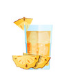 pineapple juice with ice and slices fruit in vector image vector image
