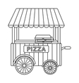 Pizza cart icon in outline style isolated on white vector image vector image