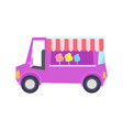 pretty lilac car-shop with sweet cotton candy vector image vector image