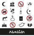 ramadan islam holiday black icons set eps10 vector image vector image