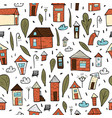 seamless patter of houses trees and clouds vector image
