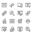 search engine optimization thin line icons set vector image