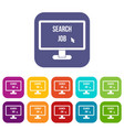 search job icons set vector image