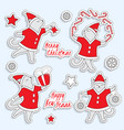 set of cute christmas stickers with dancing cats vector image