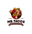 sombrero hat tacos mexican restaurant logo mascot vector image vector image