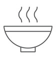 soup thin line icon food and meal hot soup bowl vector image vector image