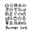 summer icons with shadow sketch vector image vector image