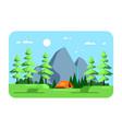 summer landscape camping area flat design vector image