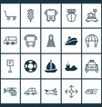 transportation icons set collection of lifebuoy vector image