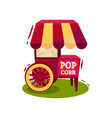 trolley with popcorn machine carnival vending vector image vector image