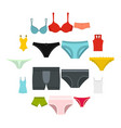 underwear items icons set in flat style vector image vector image