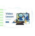 video lesson website landing page design vector image vector image