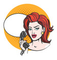 woman with phone drawn in pop art style vector image vector image