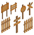 fence wooden signboards arrow sign vector image