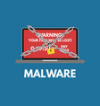 malware cyber attack red alert notification and vector image