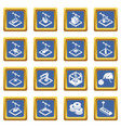 3d printing icons set blue square vector image vector image